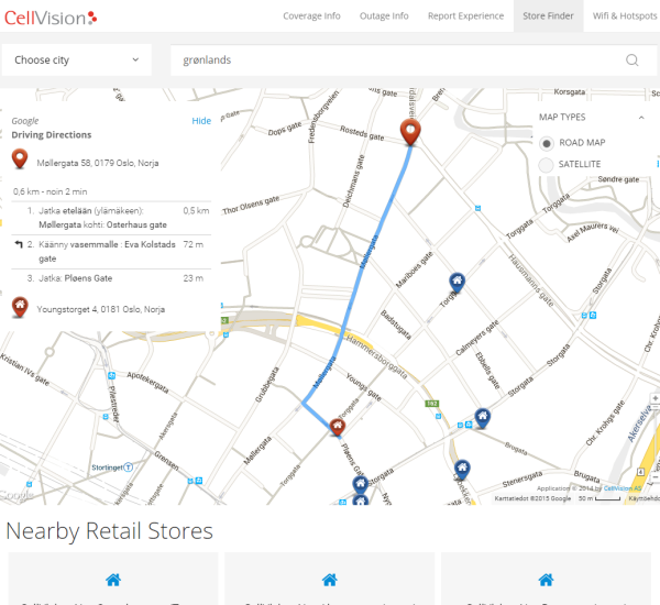 Enable customers to find related services such as stores or wifi hotspots