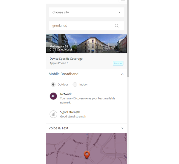 Coverage Portal scaled for a mobile device